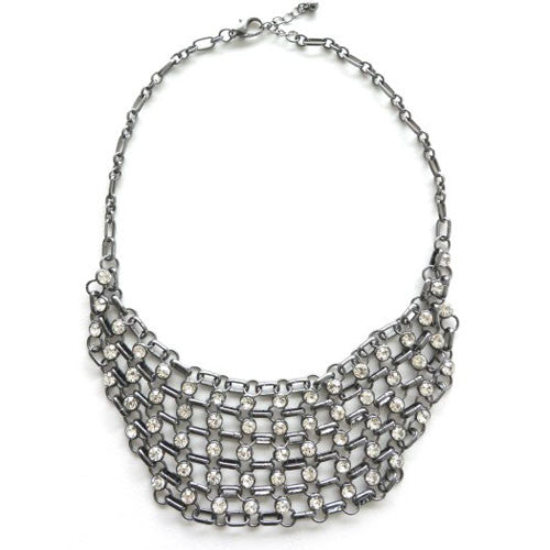 Platinum Silver Chain Mail Diamond Necklace