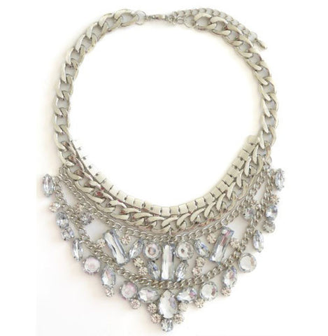 The Duchess Silver Gem Statement Bib Necklace