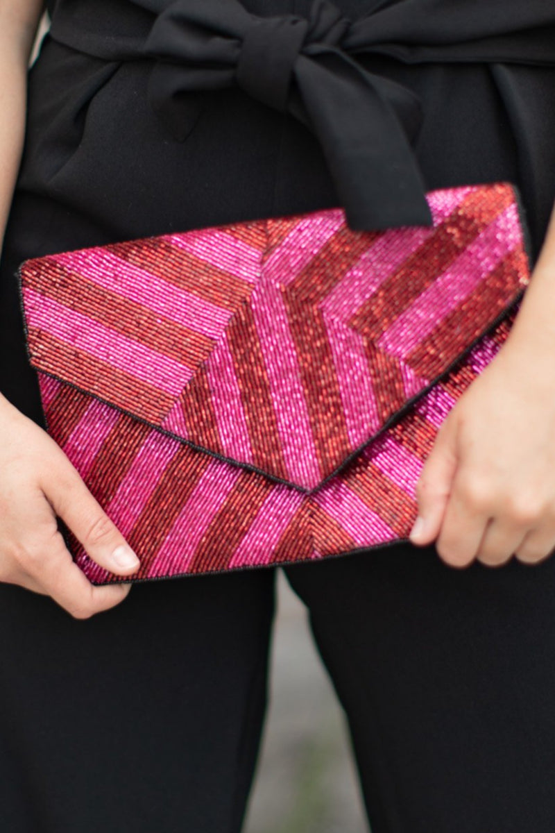 LOLISA METALLIC STRIPED BEADED CLUTCH