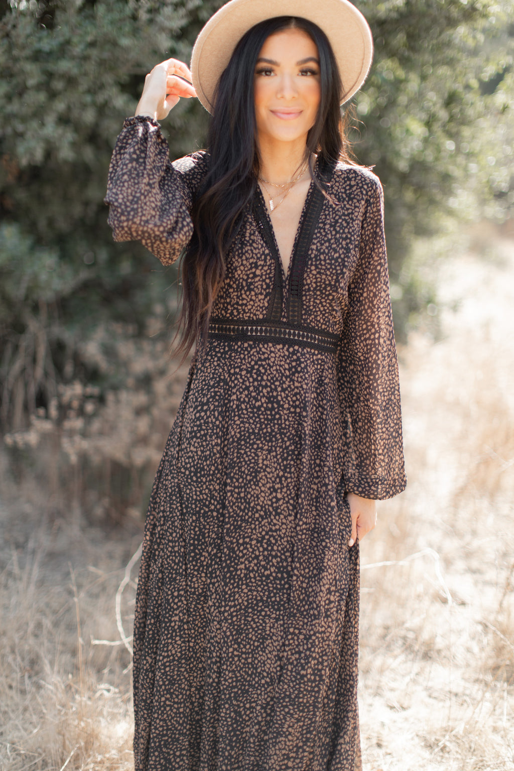TINSLEY BOHEMIAN LONG SLEEVE MAXI DRESS