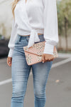 SLOAN EMBROIDERED STARBURST BEADED CLUTCH