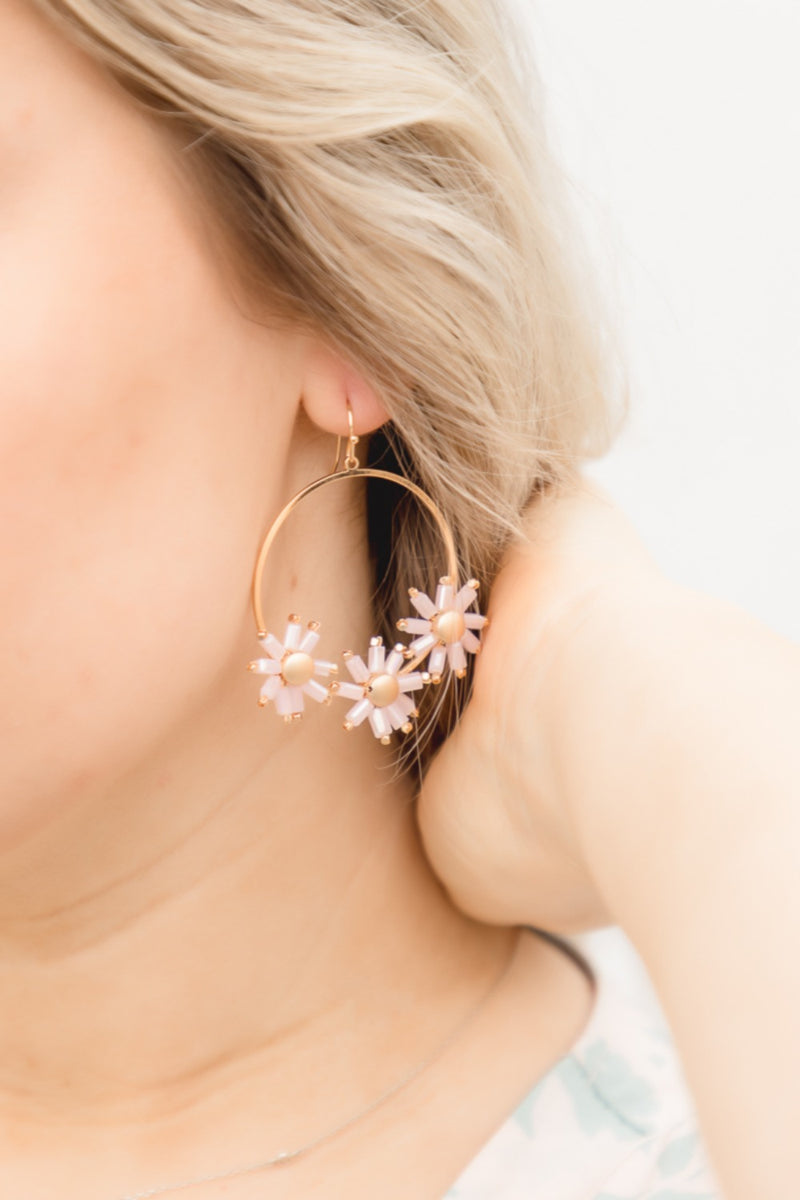 Olympia Beaded Flower Hoop Earrings