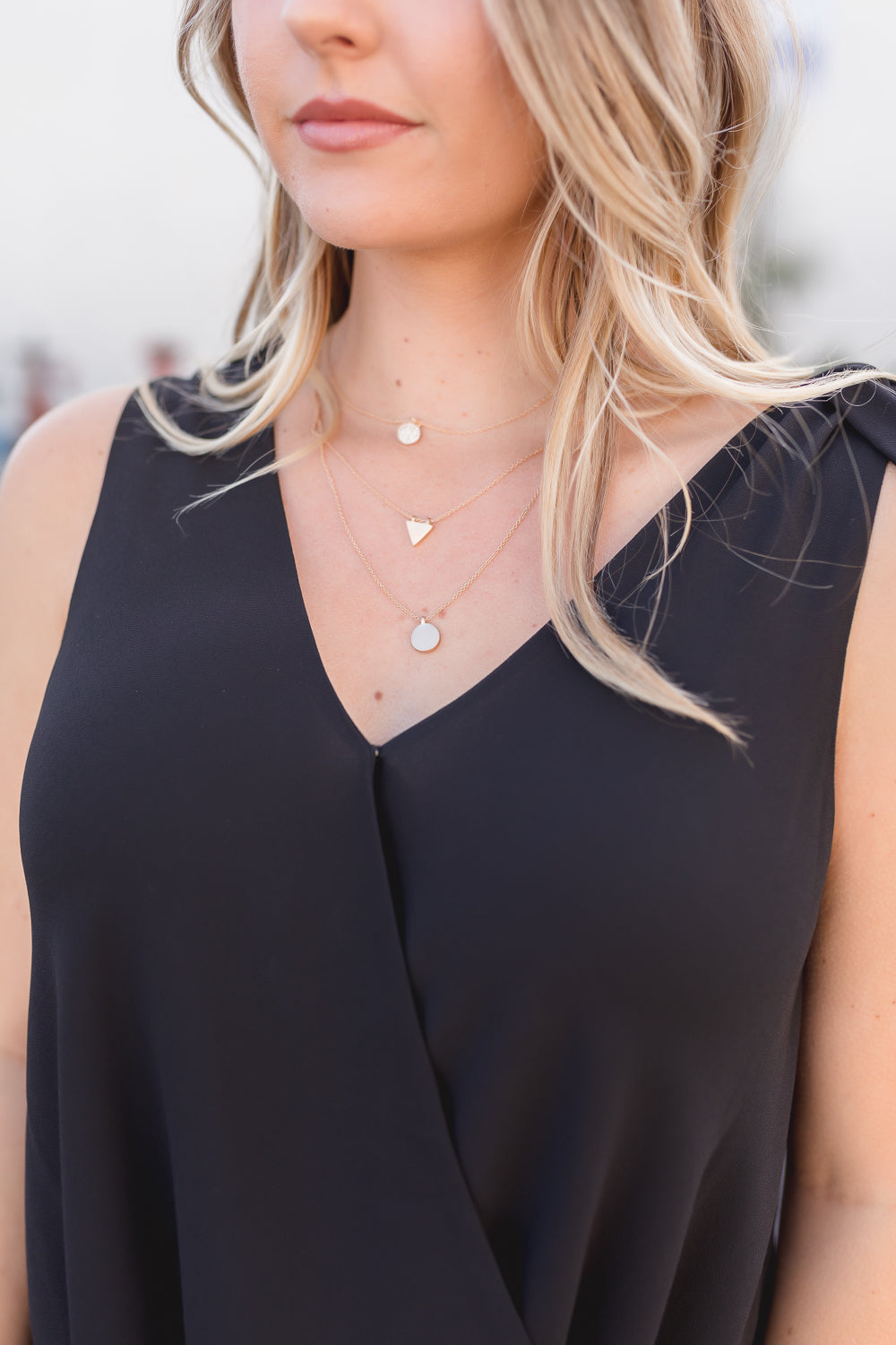 NATALY RHINESTONE GEO SHAPE LAYERED NECKLACE
