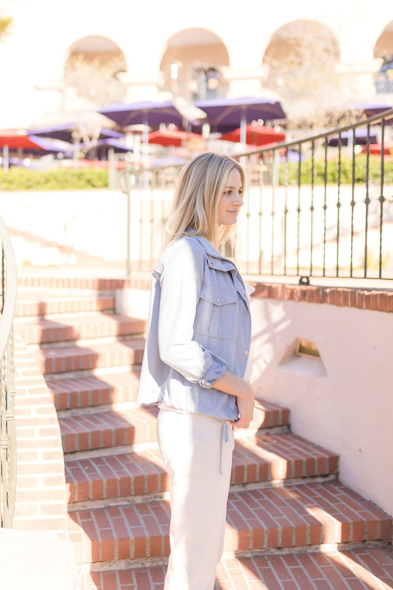 AUTUMN CONVERTIBLE FAUX LEATHER BACKPACK | GRAY