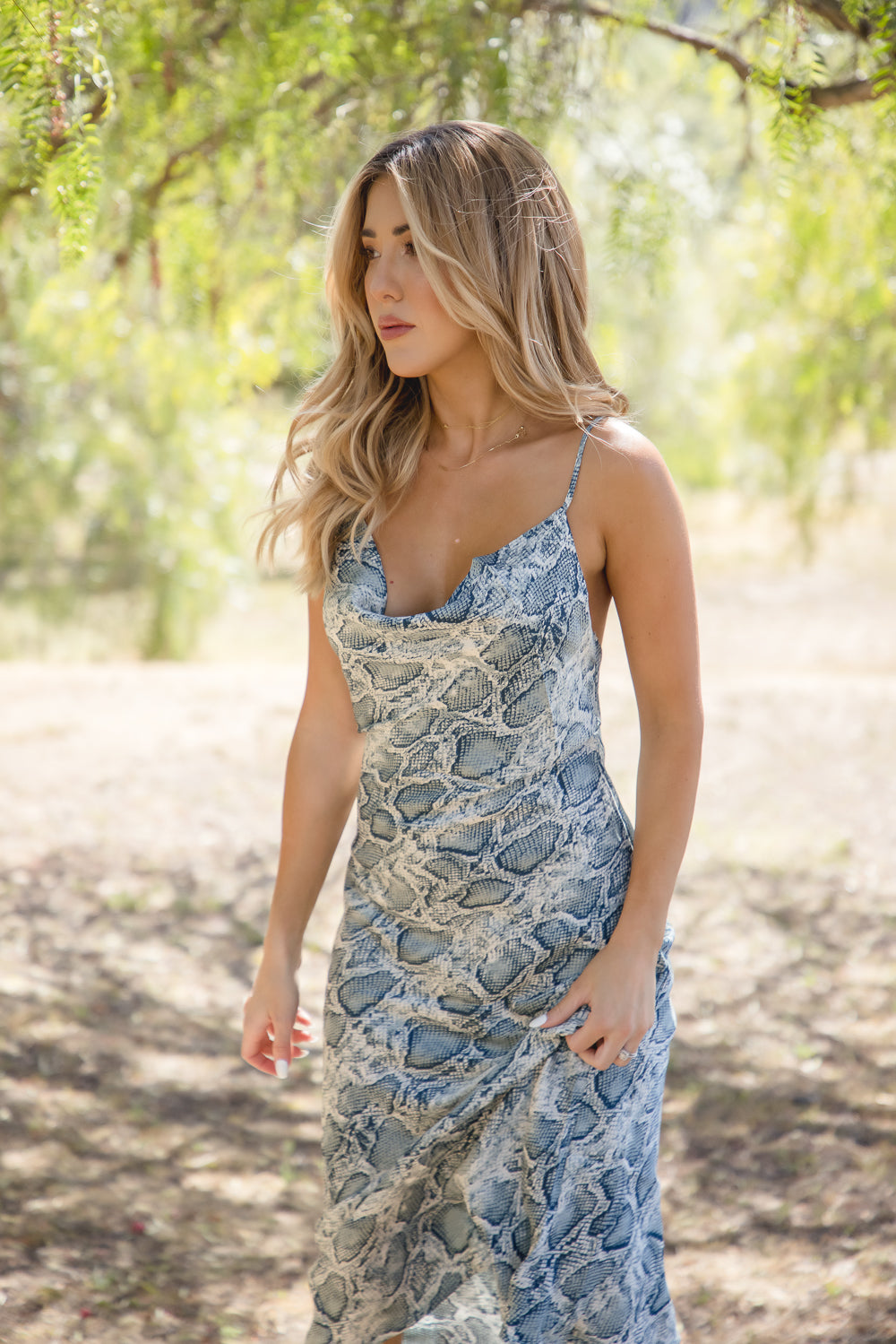 Olive Snakeskin Print Cowl Neck Midi Dress