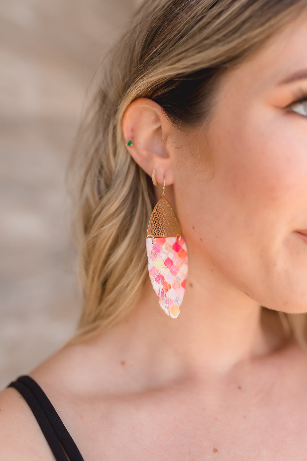 KEIRA FAUX LEATHER PRINTED EARRINGS