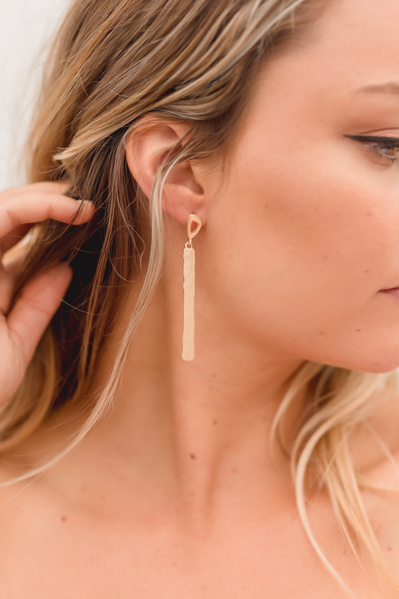 Sheri Gold Bar Drop Earrings