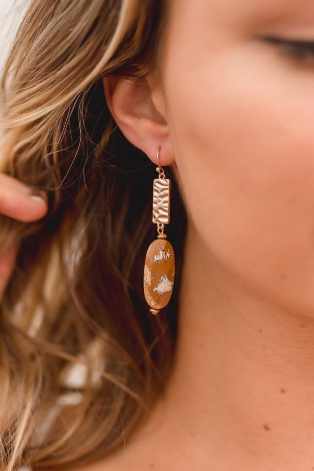 MELODY SEMI-PRECIOUS STONE DROP EARRINGS | BROWN