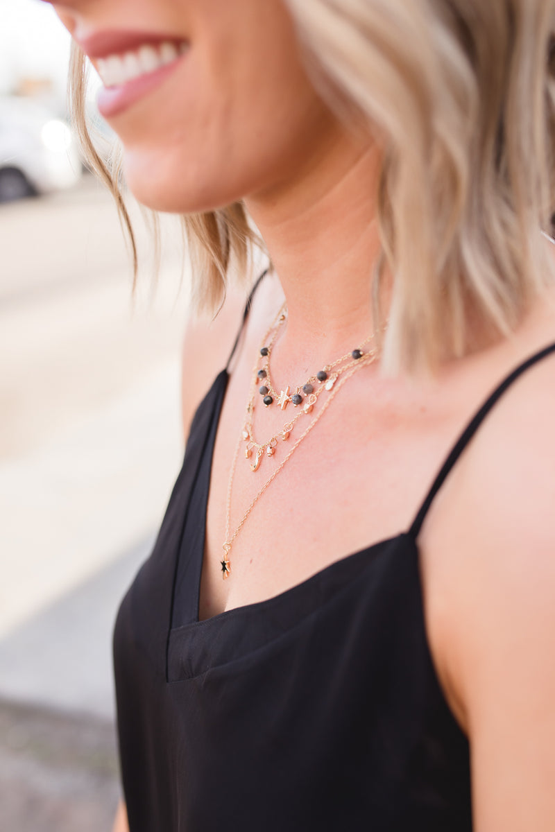 ROXANNE STAR AND STONES LAYERED NECKLACE | GREY