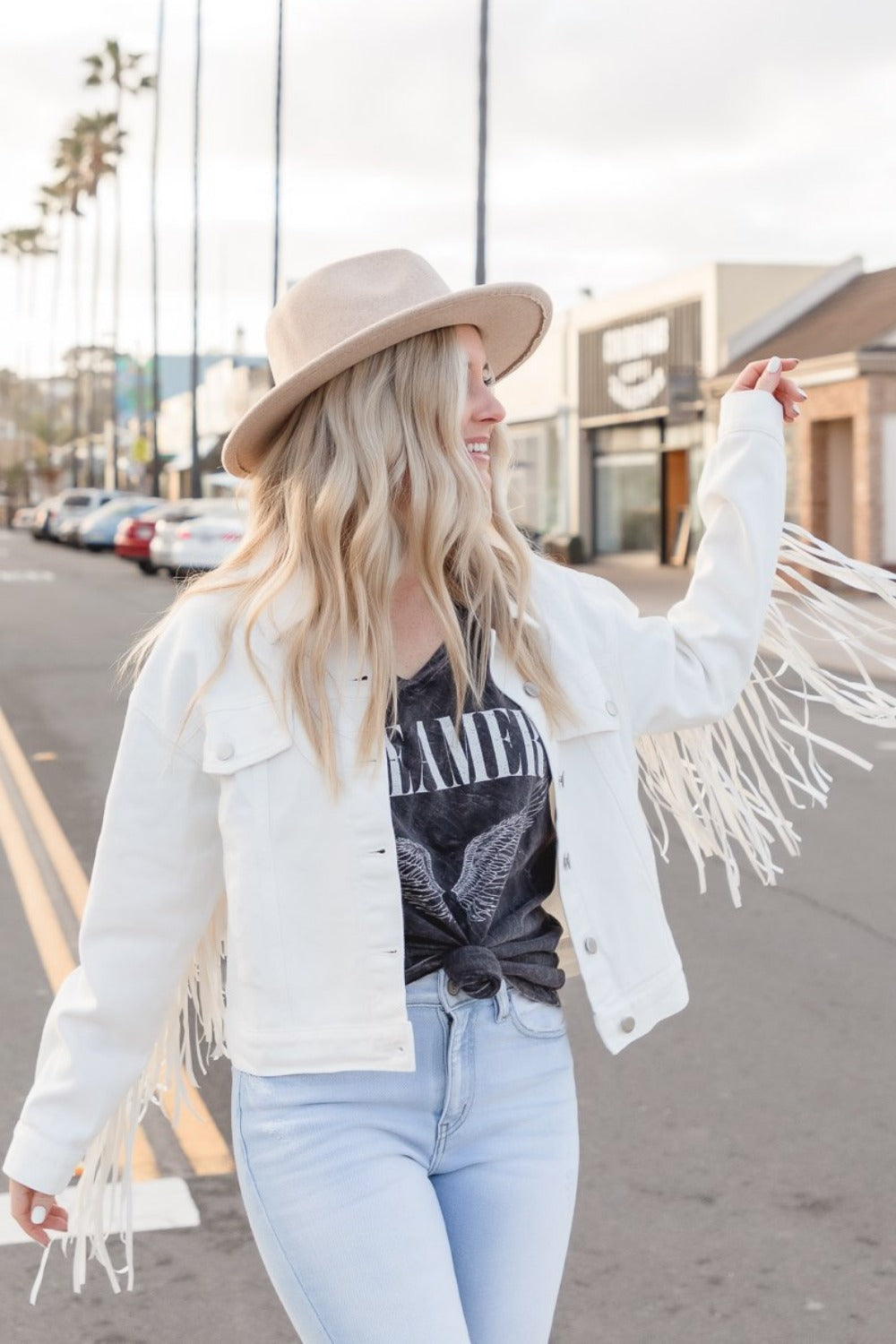 Tristan White Fringe Denim Jacket