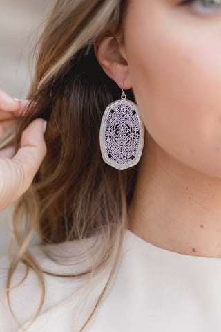CAROLINA FLORAL SILVER EARRINGS