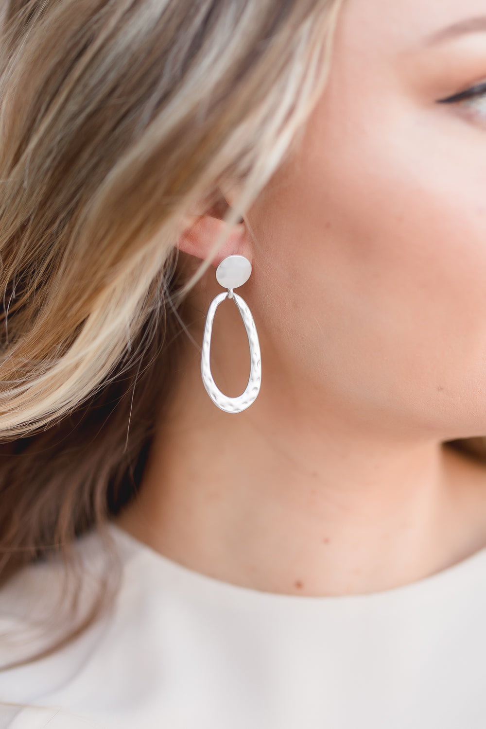 Aubree Hammered Oval Post Earrings