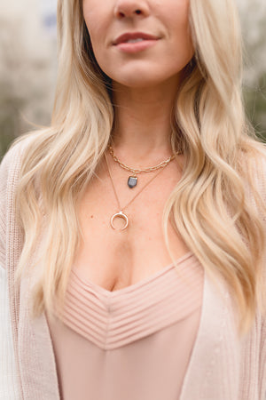 Crystal Chunky Chain Layered Necklace