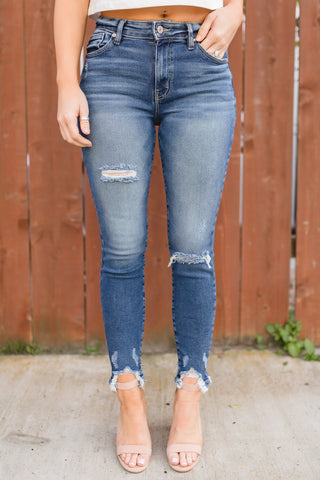 LEXIE MID RISE DISTRESSED SKINNY JEAN