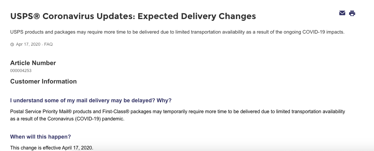 usps delivery notice