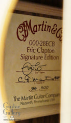 Martin 000-28ECB Sunburst guitar label