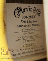 Martin 000-28EC guitar label