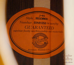 Gibson J-45 rosewood guitar label