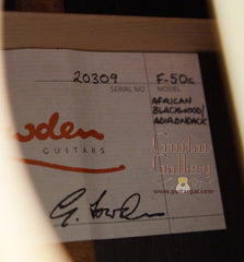 Lowden guitar F50c label