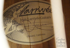 Larrivee LV-10 Koa custom guitar label