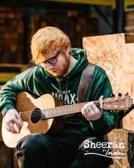 Ed Sheeran with Sheeran guitar by Lowden
