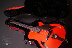 Red Marchione Archtop inside case
