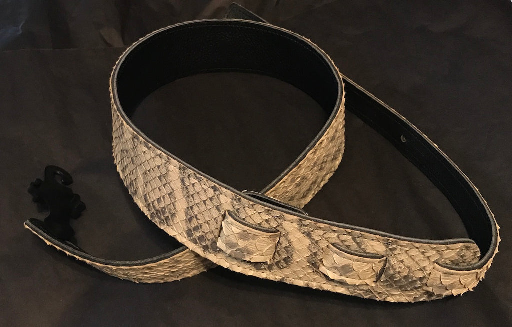 Long Hollow Leather Anaconda Guitar Strap