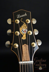 Leach guitar headstock with tiger inlay