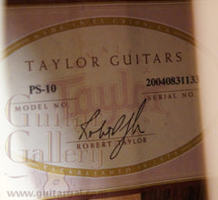 Taylor PS-10 guitar label