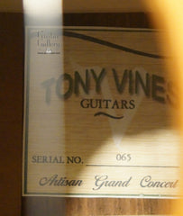 Tony Vines Artisan GC guitar label