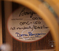Bourgeois OMC 150 guitar label
