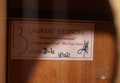 Brondel D-1c Koa guitar label
