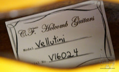 CF Holcomb Vellutini Archtop label