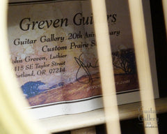 Greven Guitar Gallery 20th anniversary label