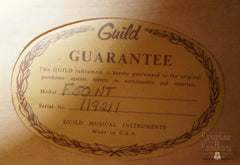 Guild F50 NT guitar label