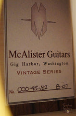 McAlister 000-45 Guitar label