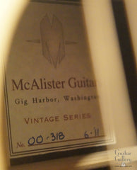 McAlister 00-12 guitar label