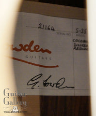 Lowden S35 guitar label