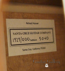 Santa Cruz 1929 000 Guitar label