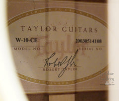 Taylor W10-ce guitar label
