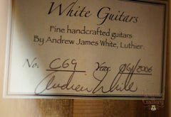 Andrew White Signature Series guitar label