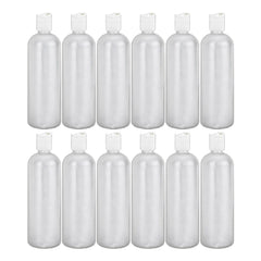 MoYo Natural Labs 32 oz Refillable Bottles, Empty Shampoo Containers with Disc Caps, One Quart Travel Bottles, BPA Free HDPE Squeezable Toiletry/Cosmetics Bottle (Pack of 12, Translucent White)