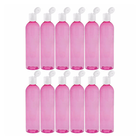 MoYo Natural Labs 8 oz Travel Bottle, Empty Travel Containers with Flip Caps, BPA Free PET Plastic Squeezable Toiletry/Cosmetic Bottles (12 pack, Candy Pink)