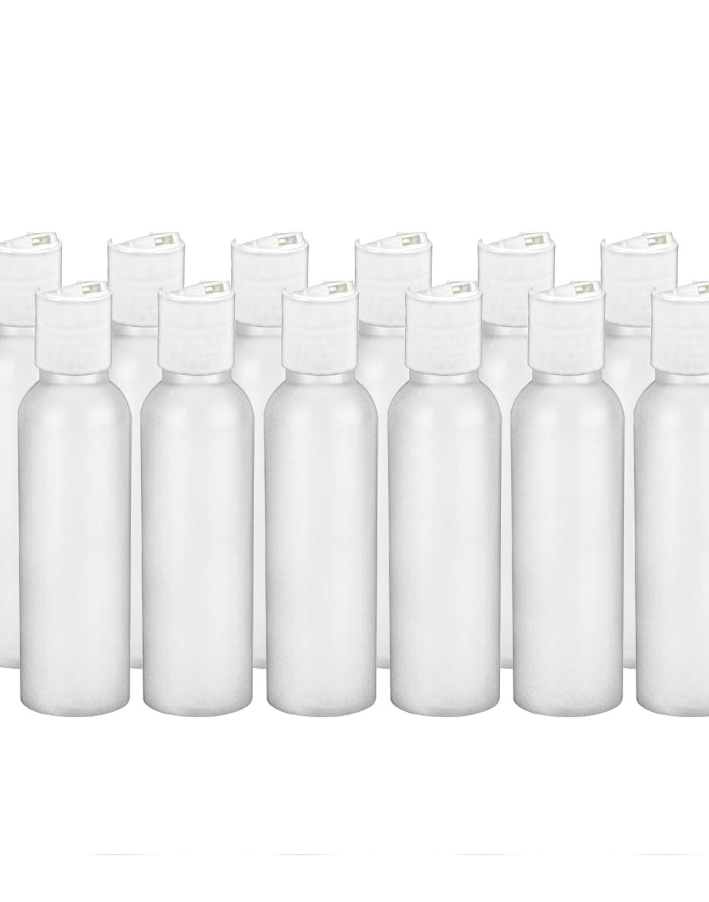 MoYo Natural Labs 4 oz Travel Bottles, Empty Travel Containers with Disc Caps, BPA Free HDPE Plastic Squeezable Toiletry/Cosmetic Bottle (Neck 20-410) (Pack of 12, HDPE Translucent White)