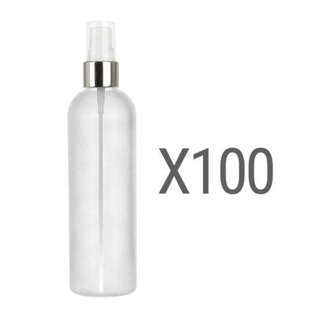 MoYo Natural Labs 4 oz Spray Bottles Fine Mist Empty Travel Containers, BPA Free HDPE Plastic for Essential Oils and Liquids/Cosmetics (Neck 20-410) (Pack of 100, Translucent White with Silver Spray)