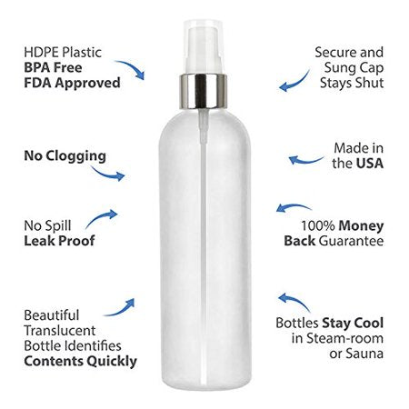 MoYo Natural Labs 4 oz Spray Bottles Fine Mist Empty Travel Containers, BPA Free HDPE Plastic for Essential Oils and Liquids/Cosmetics (Neck 20-410) (Pack of 50, Translucent White with Silver Spray)