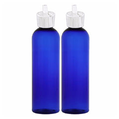 MoYo Natural Labs 8 oz Empty Bottle With Turret Spout Travel Container Toiletry Bottle BPA Free Made in USA (Pack of 2, Blue)
