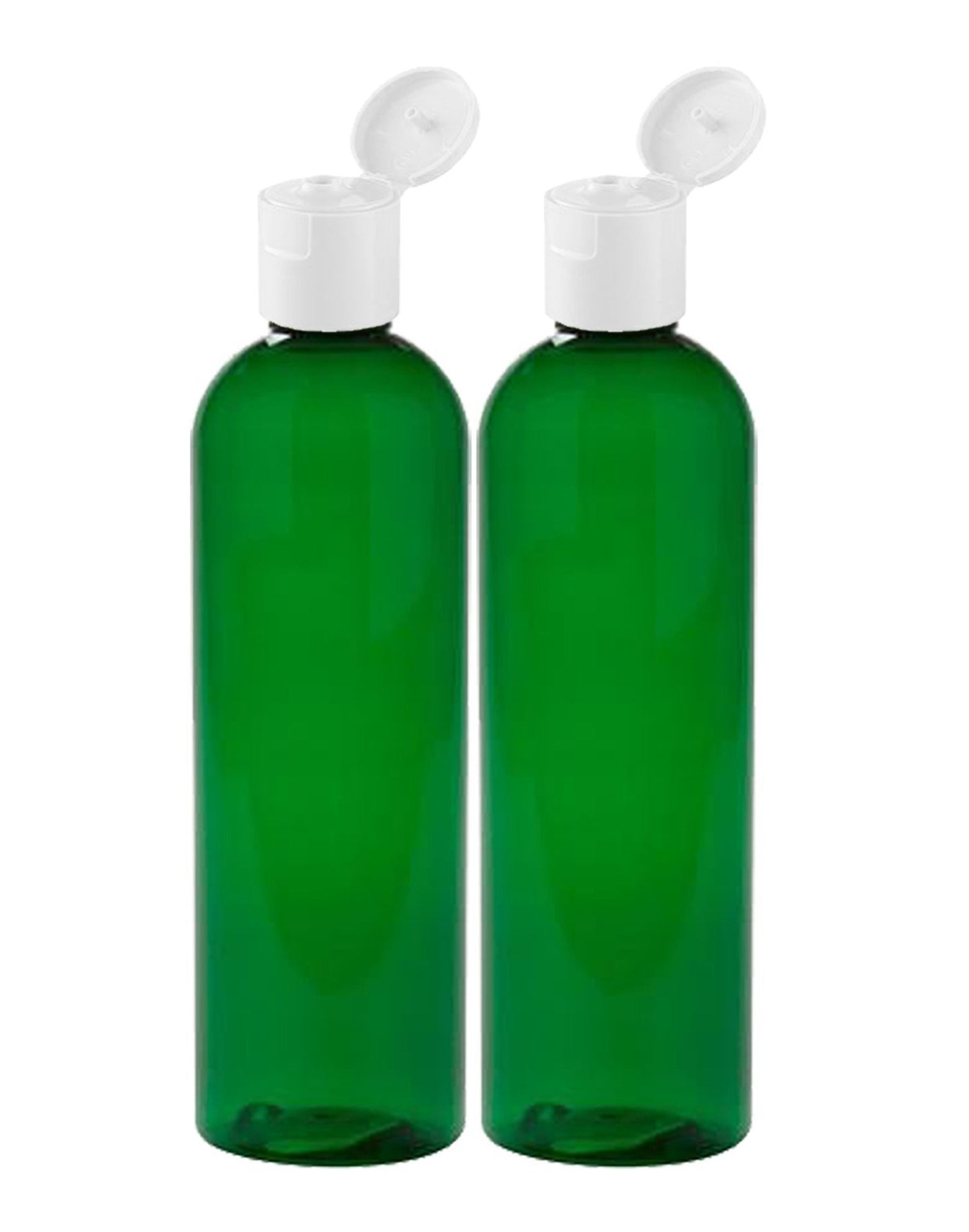 MoYo Natural Labs 8 oz Travel Bottles, Empty Travel Containers with Flip Caps, BPA Free PET Plastic Squeezable Toiletry/Cosmetic Bottles (2 pack, Forest Green)