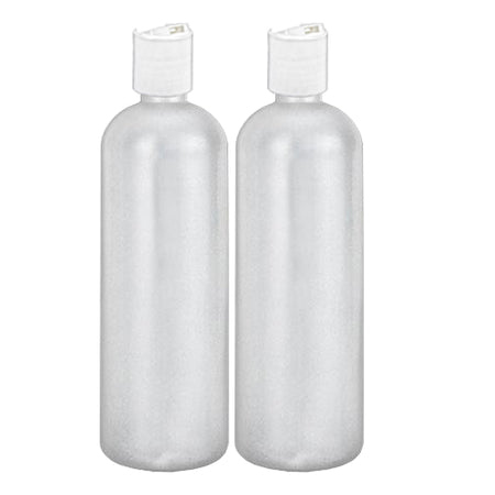 MoYo Natural Labs 32 oz Refillable Bottles, Empty Shampoo Containers with Disc Caps, One Quart Travel Bottles, BPA Free HDPE Squeezable Toiletry/Cosmetics Bottle (Pack of 2, Translucent White)