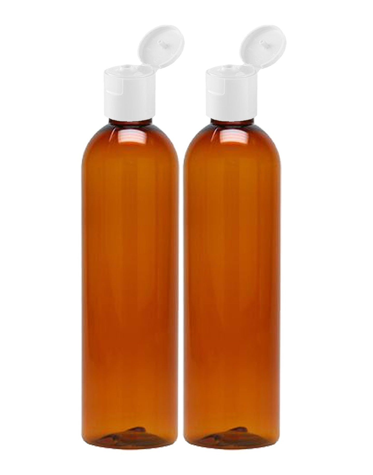 MoYo Natural Labs 8 oz Travel Bottles, Empty Travel Containers with Flip Caps, BPA Free PET Plastic Squeezable Toiletry/Cosmetic Bottles (2 pack, Amber)